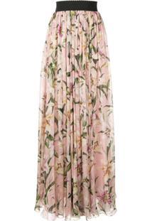 Dolce & Gabbana Saia Longa Com Estampa De Lírios - Rosa