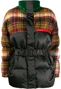 Etro Tartan Duck Down Puffer Jacket - Preto