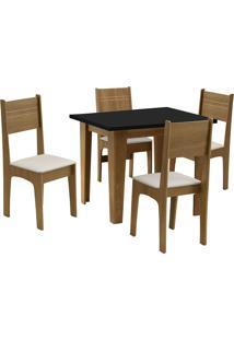 Conjunto De Mesa Para Sala De Jantar Com 4 Cadeiras Atlanta-Dobue - Mel / Preto / Bege