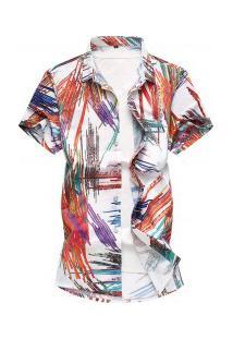 Camisa Masculina Design De Estampa Riscado - Branco