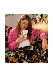 Jaqueta Em Cupro Com Bordado Curve & Plus Size | Ashua Curve E Plus Size | Rosa | Eg