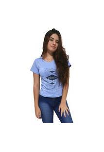 Camiseta Feminina Gola V Cellos Raspberry Premium Azul Claro
