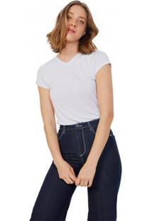 Camiseta Amaro Basic Decote V Viscose Feminina - Feminino