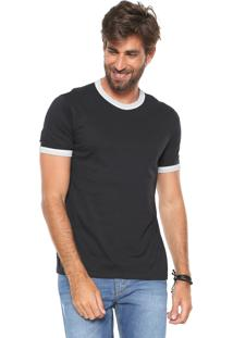 Camiseta Hering Bicolor Preta/Branca