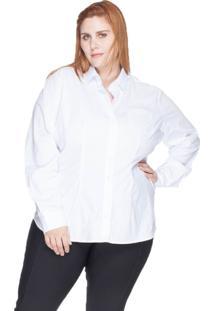 Camisa Acinturada Algodão Com Elastano Bold Plus Size Branco