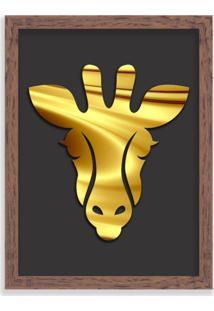 Quadro Decorativo Em Relevo Espelhado Zebra Dourada Madeira - Médio