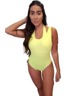 Body Neon Tiras Pescoso - Feminino-Amarelo