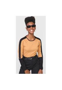 Blusa Malwee Color Block Caramelo