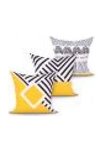 Kit Capa Almofada Estampada Amarela E Preta Kit Com 3 Unidades 45Cm X 45Cm Com Zíper