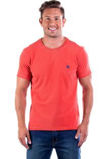 Camiseta Four Bordada Gola Básica - Goiaba