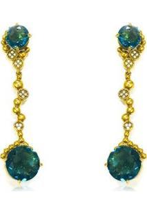 Brinco Folheado Em Ouro C/ Zircônia Azul - Unissex-Dourado