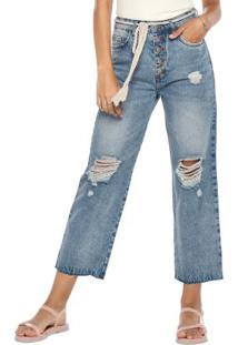 Calça Azul Pantacourt Jeans Destroyed