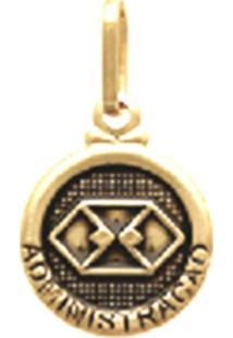 Pingente Prata Mil Redondo Profissão Administração Ouro