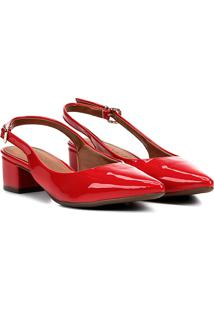Scarpin Bebecê Salto Baixo Verniz - Feminino-Vermelho Escuro