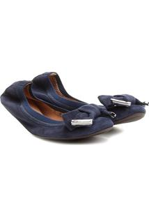 Sapatilha Em Couro Com Elã¡Stico & Laã§O- Azul Marinhoshoestock
