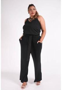Macacão Kaue Plus Size Abertura Frente Feminina - Feminino
