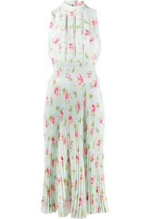 Prada Vestido Com Pregas E Estampa Floral - Azul