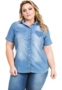Camisa Confidencial Extra Plus Size Jeans Vinil Feminina - Feminino-Azul Claro