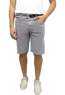 Bermuda Young Style Jeans Sarja Colors Tradicional Cinza