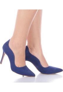 Scarpin Paula Brazil Anandra Nobuck Feminino - Feminino-Azul