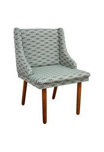 Cadeira De Jantar Liz Estampado Geométrico Estrela Azul A29 Pés Palito Castanho D'Rossi