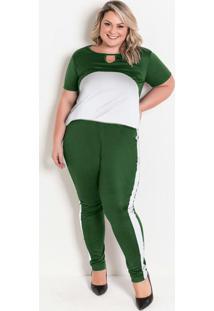 Conjunto Verde E Branco Plus Size