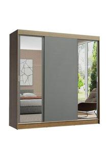 Guarda-Roupa Casal Madesa Reno 3 Portas De Correr Com Espelhos Rustic/Cinza Cinza