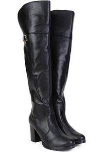 Bota Over The Knee Mooncity Salto Alto Feminina - Feminino-Preto