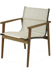 Poltrona Moline Assento Em Tela Cor Branco Com Base Madeira Cumaru - 44855 - Sun House