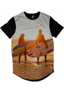 Camiseta Longline Long Beach Lb Casal Sublimada Amarelo