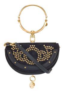 Chloé Studded Nile Minaudière Bracelet Bag - Azul
