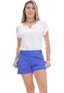 Short Clara Arruda Alfaiataria Feminino - Feminino-Azul Royal