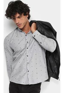 Camisa Coca-Cola Bordada Masculina - Masculino-Cinza
