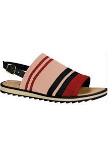 Sandália Dakota Vermelha E Preta Em Tricot