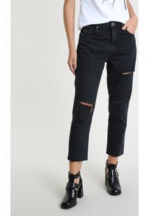 Calça Jeans Feminina Bbb Mom Cropped Cintura Alta Com Rasgos Preta