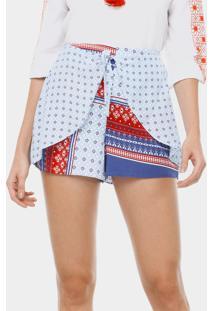 Shorts Cintura Alta Estampado Scarf - Lez A Lez