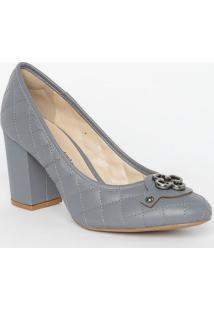 Sapato Tradicional Em Couro Matelassê- Cinza Escuro-Capodarte