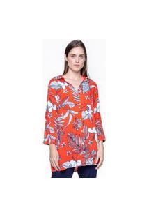 Vestido 101 Resort Wear Chemise Viscose Estampa Folhagem Vermelho