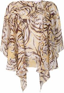 See By Chloé Tiger Print Flouncy Blouse - Neutro