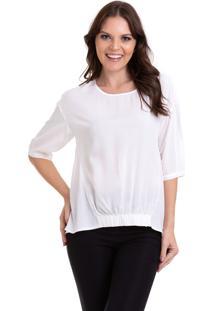 Blusa Kinara Viscose Lisa Com Elástico Branco
