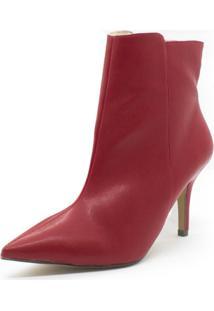 Bota Shoes Inbox Salto Fino Feminina - Feminino-Vermelho