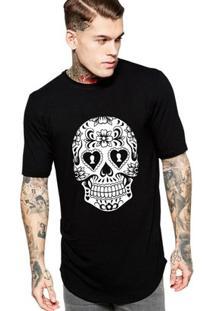 Camiseta Criativa Urbana Long Line Oversized Caveira Mexicana Cartas - Masculino-Preto
