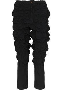 Comme Des Garçons Homme Plus Calça Cropped Com Acabamento Elástico - Preto