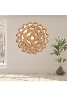 Escultura De Parede Wevans Mandala Circle, Madeira + Espelho Decorativo -