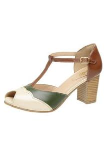 Sandalia Miuzzi Couro Feminina Salto Medio Fashionista Verde 35 Verde