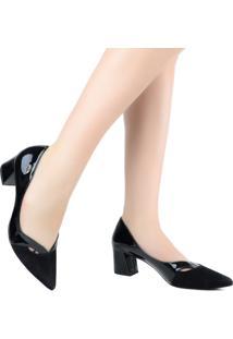 Sapato Scarpin Luz Da Lua Salto Grosso