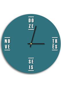 Relógio De Parede Decorativo Premium Ágata Com Palavras Em Relevo Preto Ônix Médio