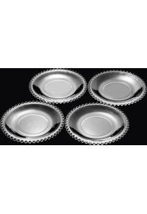 Conjunto Com 4 Pratos De Sobremesa De Cristal Pearl Clear 20Cm - Pronta Entrega