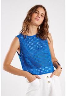 Blusa Laise Sacada Feminina - Feminino-Azul