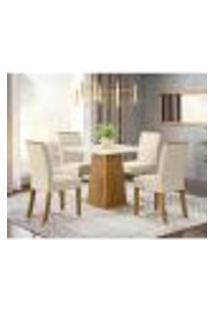 Mesa De Jantar Dora 90Cm 4 Cadeiras Vita - Nature/Off White/Linho
